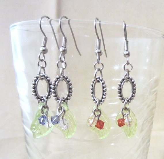 Bead Edged Silver Oval Hoops, Green Leaf & Crystals Dangle Earrings, Handmade Original Fashion Jewelry Fall Spring Nature Inspired Gift Idea