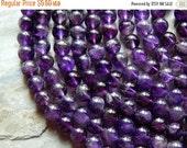 Sale 8mm B Grade Genuine Natural Amethyst Semi-Precious Polished Gemstone Beads, Half Strand (IND1C45)