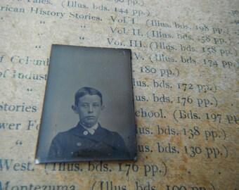 Gem Miniature Tintype Photo - Young Boy