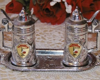 collectible vintage silver Minnesota salt and pepper shakers set with tray - state flower Lady Slipper