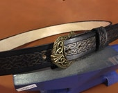 "1.5"" Wide Leather Celtic Belt with Knot work Buckle"