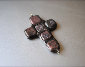 Natural Pink & Brown Stone soldered cross pendant