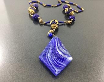 Antique Vintage Molded Blue Glass Czech Necklace, Russian Gold & Czech Blue Lapis Lazuli Bead Roses, Bohemian