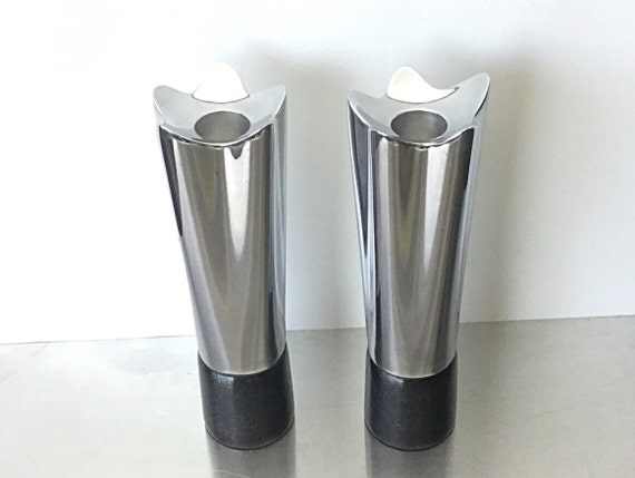 Mod RETRO Chrome Vintage Nambe Candle Stick Holders, Contemporary Modern Candle Holders, awesome retro design Silver Chrome black marble