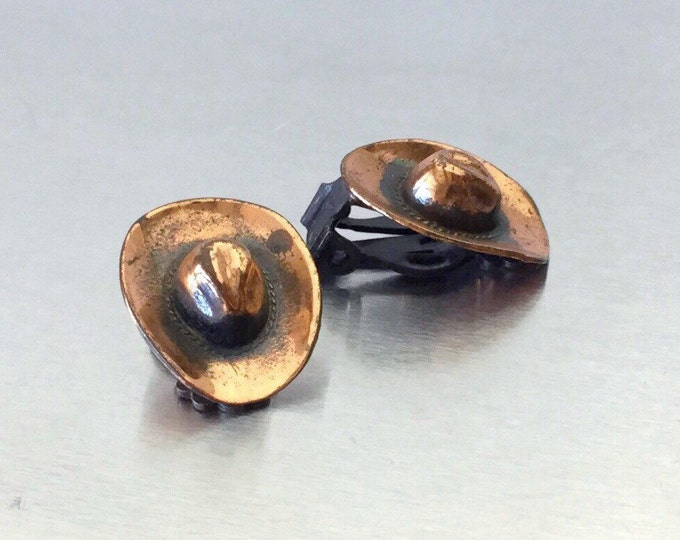 Vintage Cowboy Hat Copper Earrings, Mid Century Southwest Earrings. Fun Rodeo Style Copper, Copper Earrings. Hat Earrings