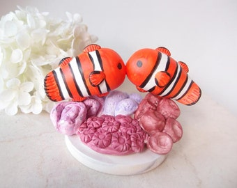 Love Wedding Cake Toppers - nemo clown fish with base