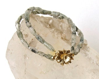 Grey-Rhutilated Quartz- or Labradorite- Classic-Double Strand Bracelet with Vintage Floral Clasp