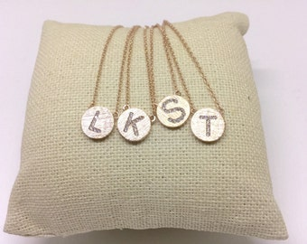 Rose Gold Pavé Initial Necklace, Dainty Necklace, Tiny Initial Necklace