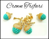 Trifari Turquoise Brooch & Earrings Set, Aqua and Gold, Acorn Brooch, Acorn Earrings, Fall Autumn Jewelry Set, Hostess Gift For Collector