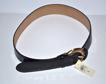 Vintage embossed leather belt by designer Ann Taylor   Size M wide belt New with tag NOS