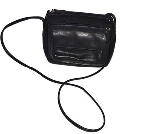 80s vintage designer black leather small  purse by Fossil messenger shoulder crossbody bag mint condition NOS