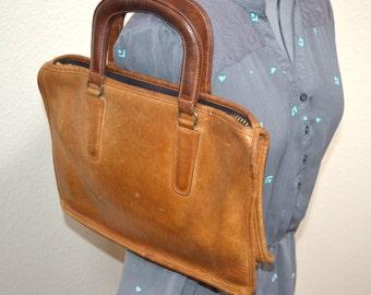 80s authentic  honey tan Coach handbag shoulder travel bag portfolio bag back to school