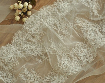 3 Yards French Alencon Lace Fabric Trim for Wedding Gown, Bridal Veils, Bodices, Shrugs, Garters, Headpiece