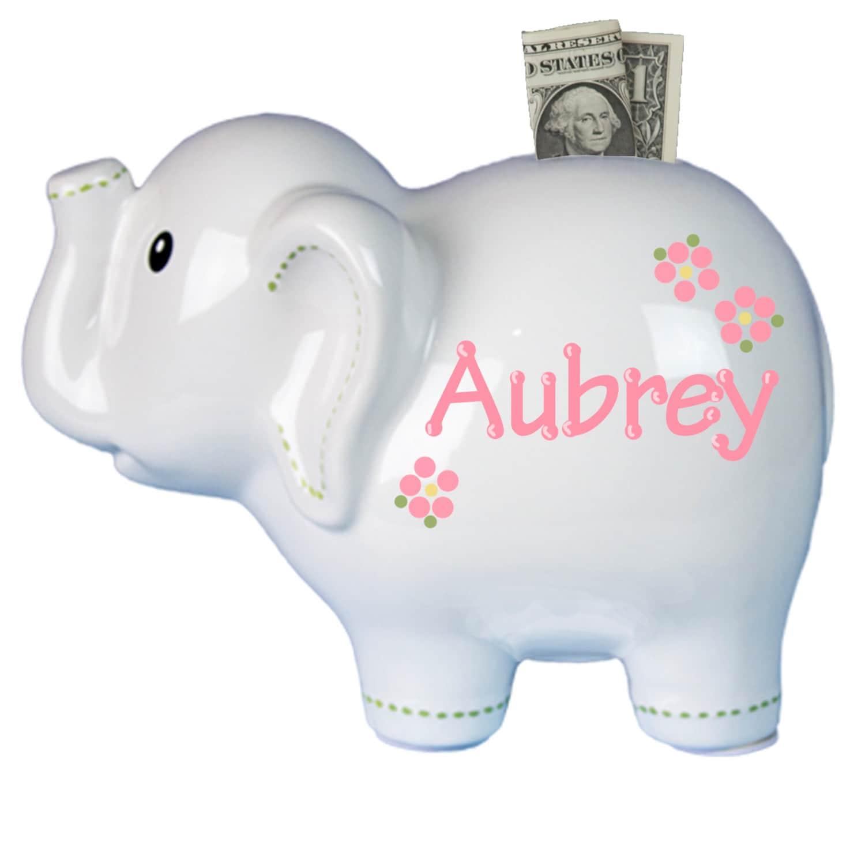 Personalized white elephant ceramic piggy bank girls boys - Ceramic piggy banks for boys ...