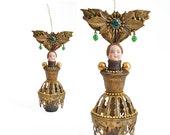 Brass Queen,  an original mixed media assemblage art doll ornament  by Elizabeth Rosen