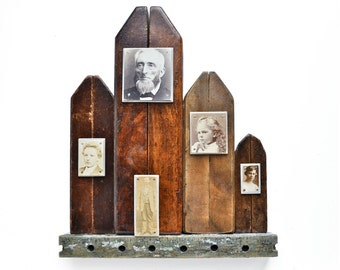 Ghost Town, wood wall art, mixed media assemblage, wood collage, architectural salvage, ORIGINAL ART by Elizabeth Rosen