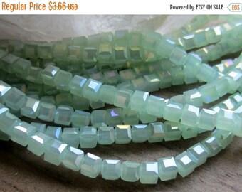 ON SALE Crystal Cube Bead Opaque Seafoam Green AB 4mm 1 Strand