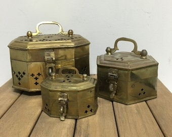 Vintage Brass Cricket Box Collection - 3 Cricket Boxes