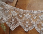silver embroidered lace trim, silver scalloped lace