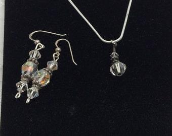 Clear Crystal Set, VINTAGE  Pendant & Earrings set in Silver, HALF OFF Sale, Item No.S371