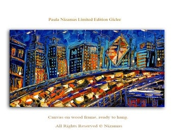 City at Night Impressionist cityscape Giclee Paula Ready to hang home wall decor perfect gift
