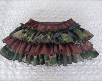 Parley Ray Daddy's Girl Camoflauge All Around Ruffled Skirt Baby Bloomers/ Diaper Cover / Photo Props Hunter Army Girl