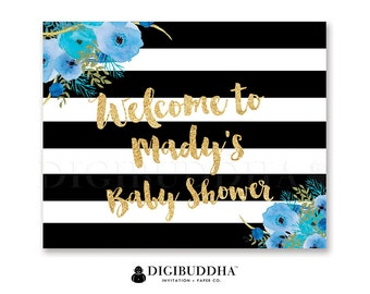 BABY Shower WELCOME SIGN Black & White Striped Gold Glitter Wedding Bachelorette Party Baby Shower Pink Flowers Priority Shipping - Mady