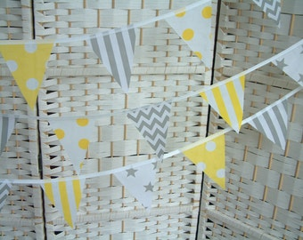 "Mini bunting, banner. Yellow & grey/ gray.  Sold by the metre (39"") length. Chevrons, stars, stripes. Modern, nursery, playroom."