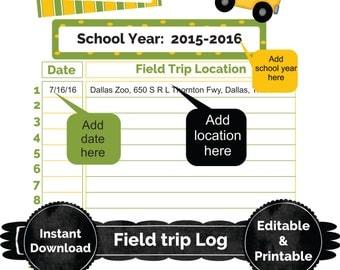 Editable digital field trip log, pdf download