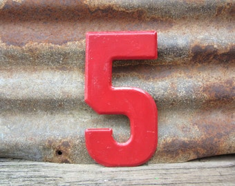 Number Sign Vintage Metal #5 Sign Five Sign 7 1/2 Inch Distressed Red Paint Marquee Sign Wall Art vtg Alphabet Letter Advertising Old