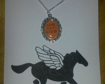 Camp Half-Blood Hand Painted Greetings Card with matching Cameo Necklace