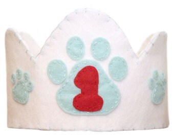 Puppy Paw Felt Crown, First Birthday, Aqua, Choose The Number