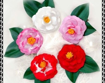 Camellia Japonica Pin, Hair Clip or Earrings