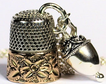 Antique Thimble and Acorn Charm Peter Pan and Wendy Kisses Necklace Sterling Silver