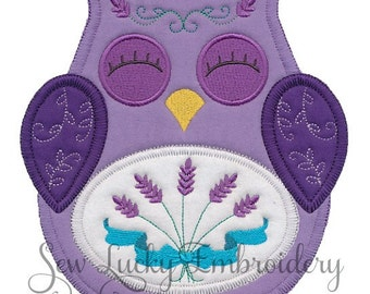 Ohli the Owl with Lavender Applique Embroidered Patch , Sew or Iron on