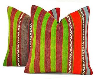 Set of 2 Kilim pillow covers, skp9-29, Kilim Pillow, Turkish Pillow, Kilim Cushions, Kilim, Moroccan Pillow, Bohemian Pillow, Turkish Kilim