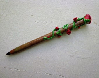 Rose Pen/ Polymer Clay Pen/ Refillable/ Useable Art