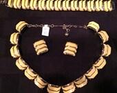 Mad Men mod 60's yellow jewelry set