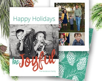 Christmas Card Template Photoshop Card - Family Christmas Photocard, Be Joyful Christmas Photocard, Calligraphy, INSTANT DOWNLOAD, CC211