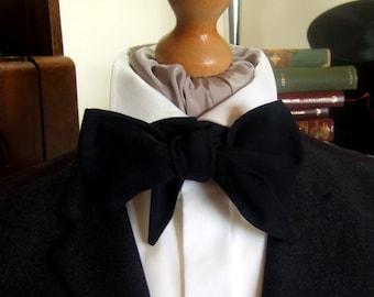 Black Victorian Bow Tie Cravat Ascot in Linen Look 100% Cotton