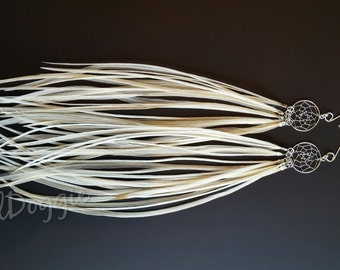 Long Feather Earrings Dreamcatcher Earrings Festival Jewelry White Dream Catcher Earrings Festival Accessories Feather Jewelry
