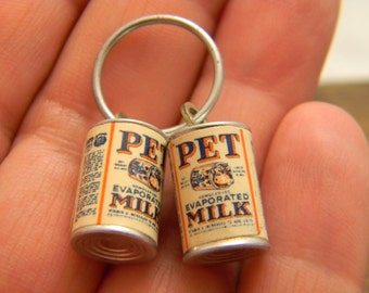 Vintage Pet Milk Can charms set of two miniatures