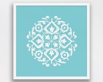 Persian Motif Print, Folk Art, Aqua and White Decor, Persian Motif Wall Art, Folk Art wall decor, Aqua blue art, Printable Art