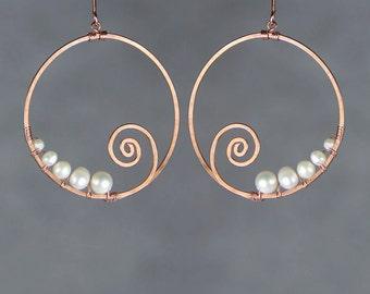 Pearl copper wiring Ocean wave scroll hoop earring handmade US freeshipping Anni Designs