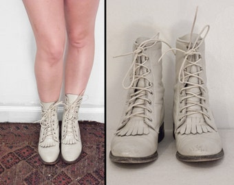 Bone Combat Boots Justin Brand Roper Kilty Leather Lace Up Size 6 B White