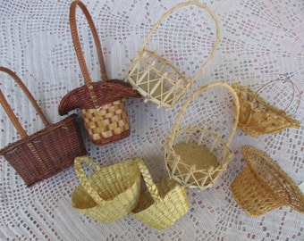 Miniature BASKETS Wicker and Woven Set of 8 Various Sizes and Types  Vintage CUTE for Dolls, Crafts, Decoration