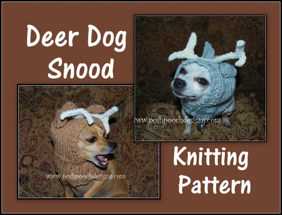 Deer Dog Snood 3 sizes S-L Instant Download KNITTING Pattern