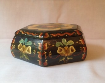 Vintage Signed Tole Painted Trinket Box Navy Background Yellow Flower