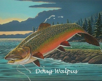 Brook Trout Fish Original Painting Acrylic Fly Fishing Freshwater by artist Doug Walpus