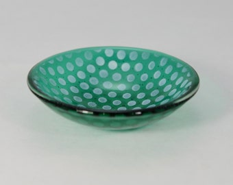 Emerald Green Fused Glass Small Dish with Dots